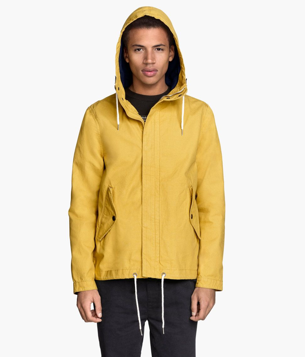 Mustard yellow canvas parka with lined drawstring hood & side ...