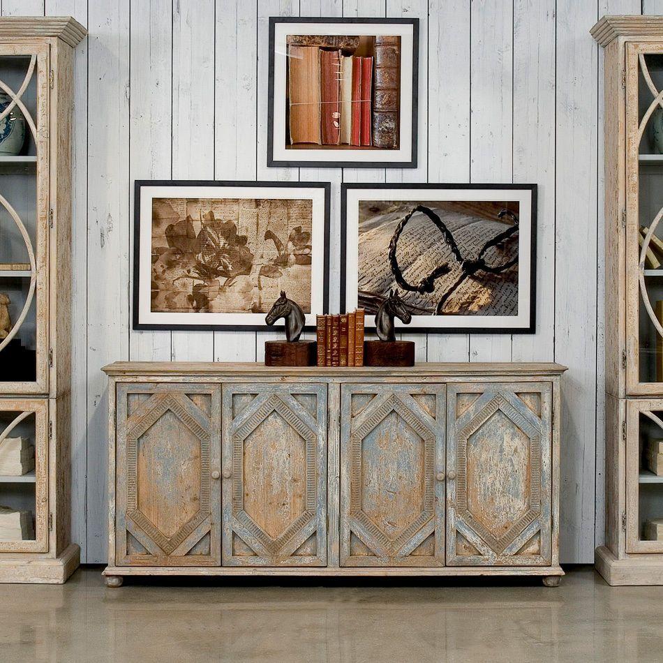 Sideboard Cabinet Breakfront Credenza Pine Blue White Wash