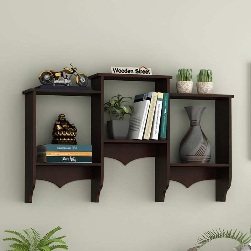 Buy Asia Wall Shelf Walnut Finish Online In India Wooden Street In 2020 Shelves Wooden Street Wall Shelves