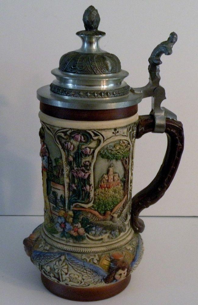 Original Thewalt Lidded Beer Stein 1894 Western Germany Alt-Grenzau