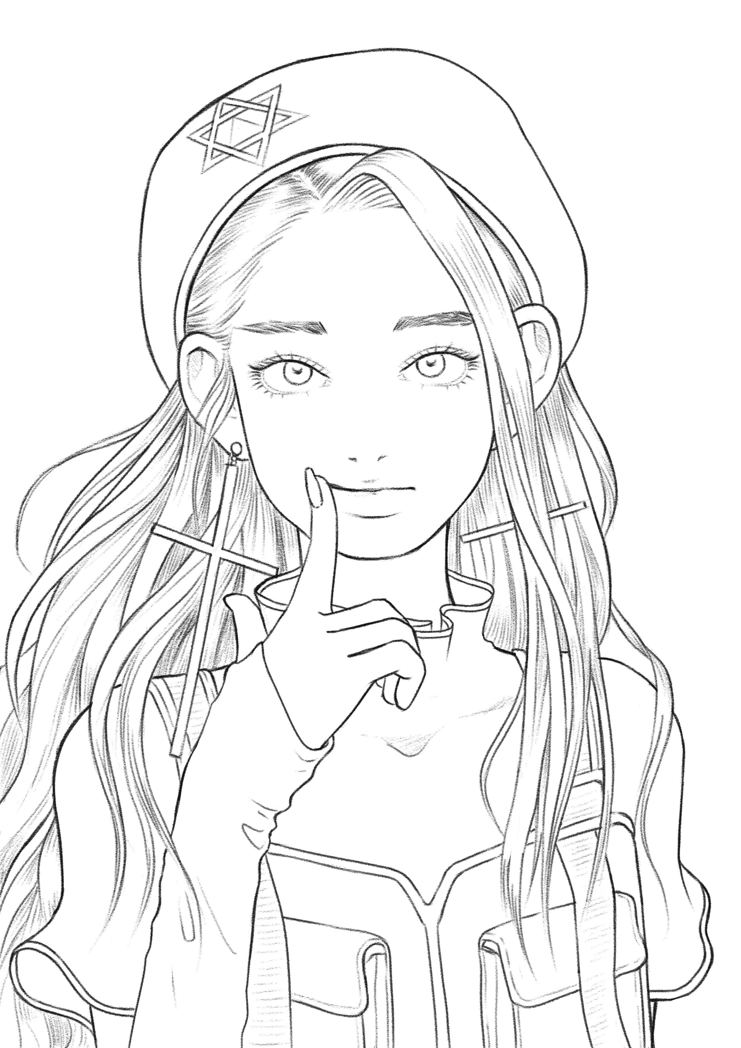 Military Girl Coloring Page For Adults Printable Easy Etsy Cartoon Girl Drawing Anime Lineart Coloring Book Art