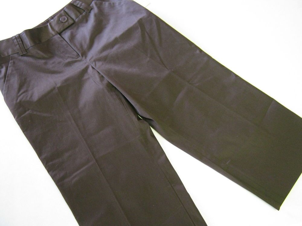 be6e412d548f NEW Pursuits Ltd Womens Capri Cropped Pants 8 P Petite Chocolate Brown  CLEARANCE