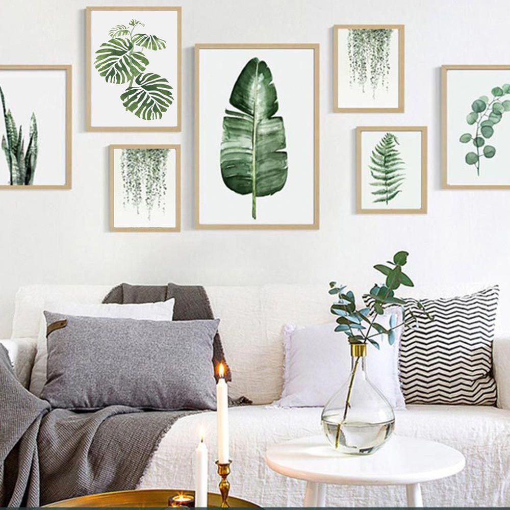 Green Leaf With Pure White Background Simple And Modern Pattern Leaf Material Canvas Function Wall Decor Leaf Wall Art Room Wall Art European Home Decor