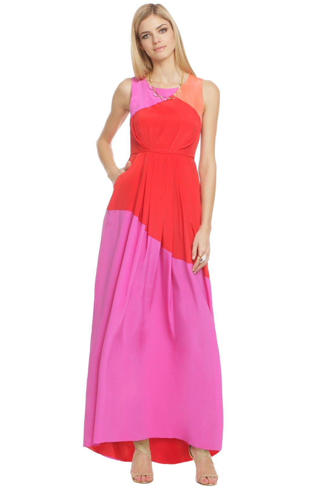 Shoshanna mabrey maxi dress neon love pinterest spring formal