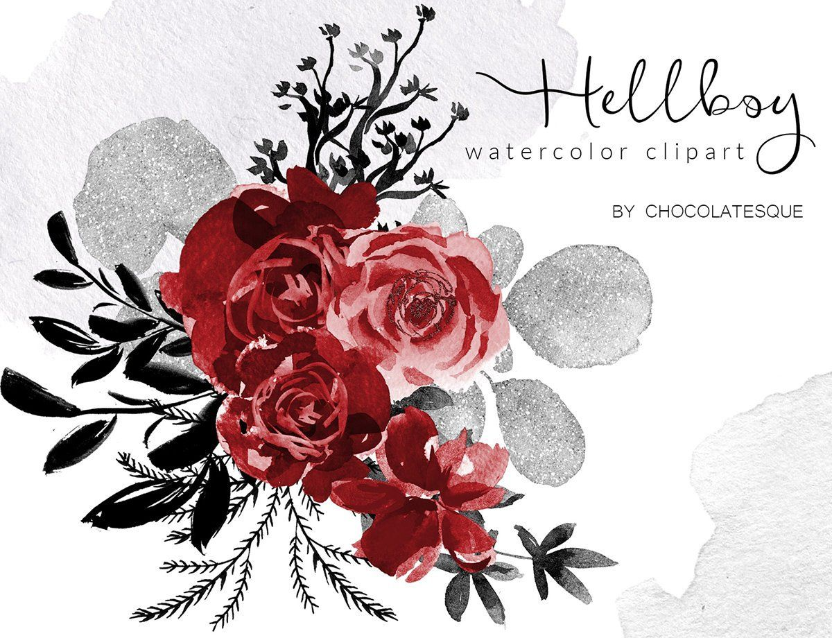Red Black Silver Floral Clipart Watercolor Flowers Watercolor Png Red Roses Clipart Floral Elements Red Flowers Red Wedding Digital Floral Clip Art Watercolor Flowers Black And Red