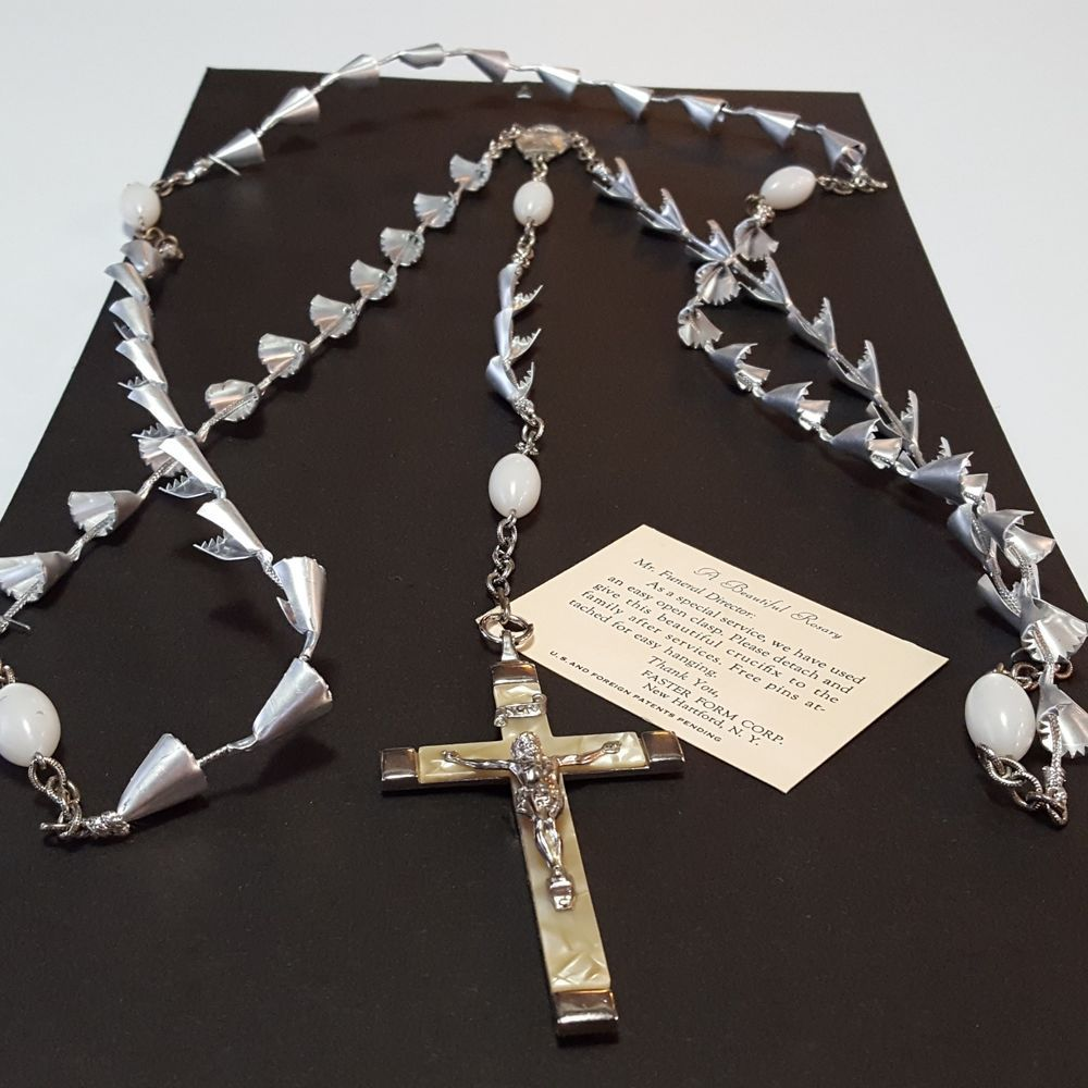 Funeral Rosary Vintage Mop Germany Crucifix Casket Mourning Floral