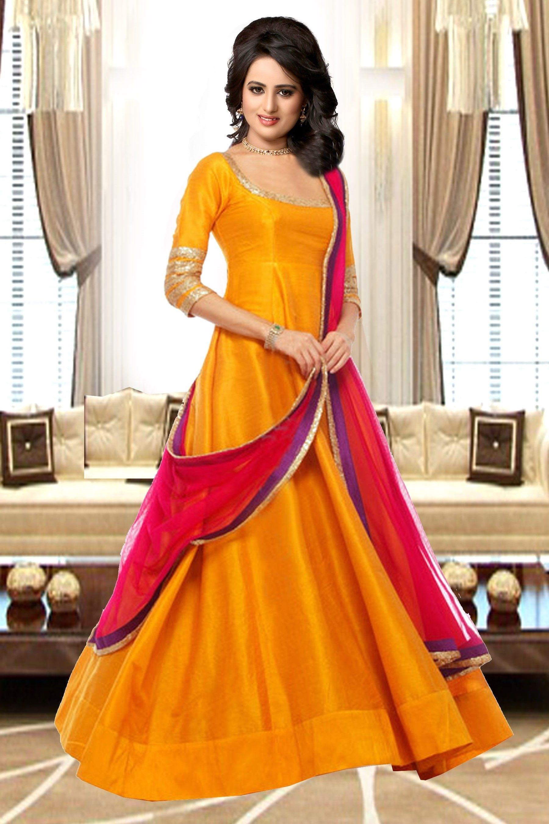 0a756b53053a Yellow silk embroidery semi-stitched Salwar suit with Dupatta ...
