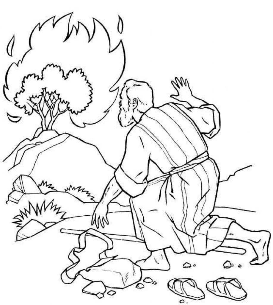 The Incredible Moses Burning Bush Coloring Page To Encourage Sunday School Coloring Pages Bible Coloring Bible Coloring Pages