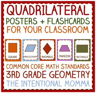 quadrilateral parallelogram poster set with flashcards and