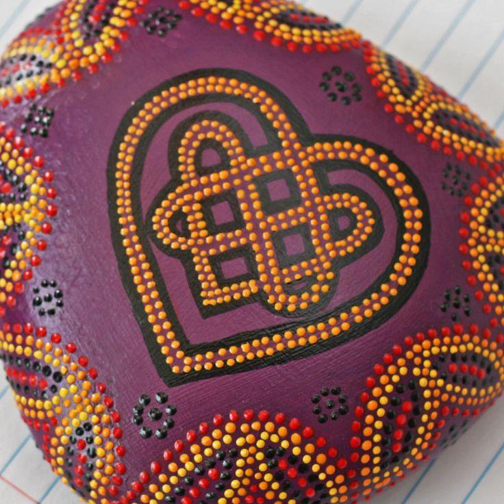 Celtic Knot Heart Dot Painted Rock