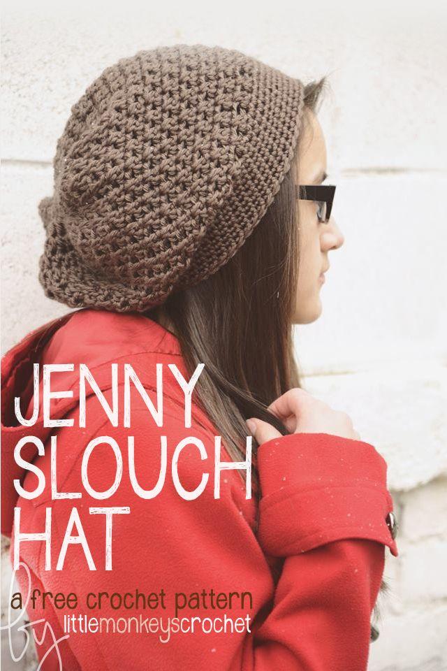 The Jenny Slouch Hat (Free Crochet Pattern!) | Pinterest | Ganchillo ...