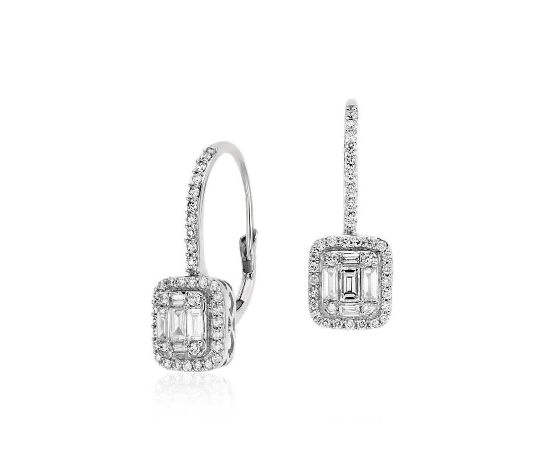 Baguette Diamond Lever Back Drop Earrings In 18k White
