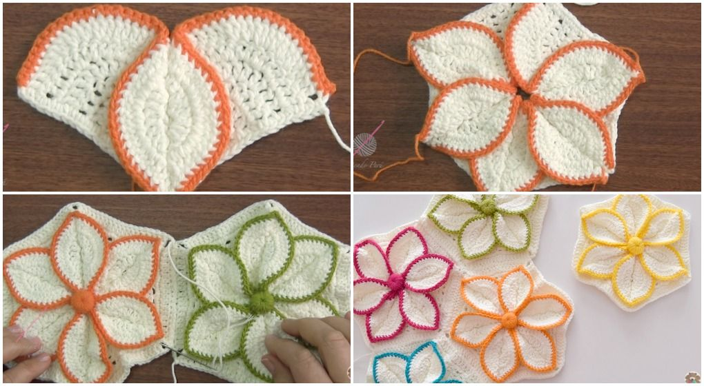 Crochet Hexagon 3D Flower | Pinterest | Ganchillo