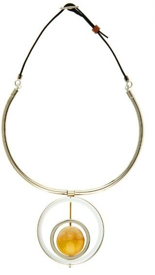 MARNI Horn, leather and metal necklace