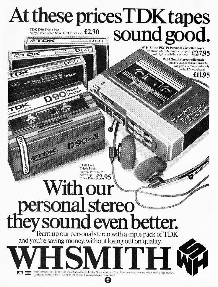 WH Smith ad: TDK tape & personal stereo
