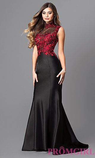07ca620a9c5 Long Prom Dress with Embroidered Bodice at PromGirl.com