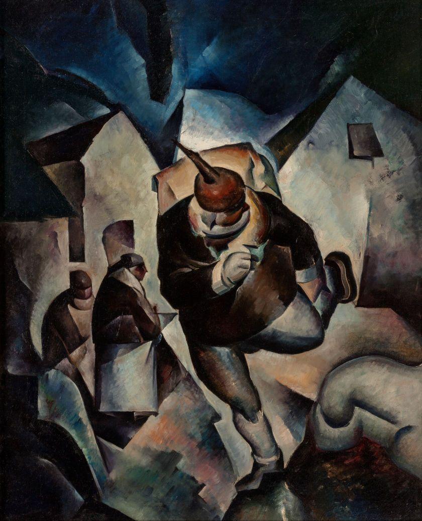 THOMAS DUNCAN BENRIMO (American, 1887-1958). Running Man, circa 1918-25. Oil on canvas. 30 x 24 inches