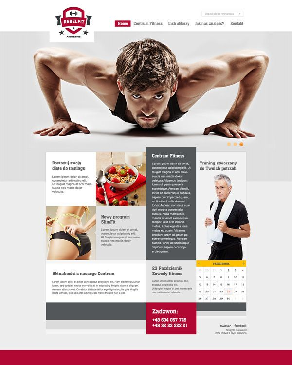 RebelFit Gym website by Tomasz Soluch, via Behance  http://healthandfitness247.co.uk http://www.facebook.com/Hnf247