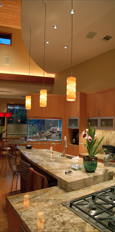 Cornerstone architects gorgeous kitchen with custom fish aquarium