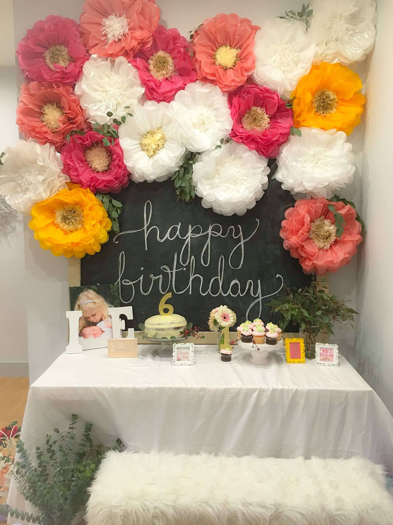 Floral Birthday Little Girl Birthday Flower Party Chalkboard Sign