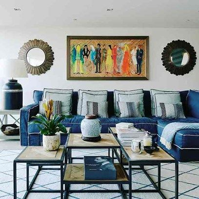 Blue Sofa And Geometric Rug In Living Room Design Ideas On HOUSE. The  Seating Area In This Restored Victorian Water Tower Fits With The Homeu0027s  Blue Colour ...