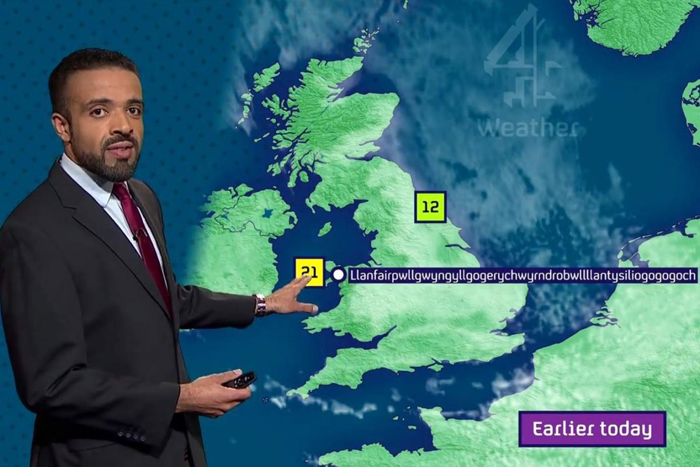 Channel 4 weather man pronounces longest place