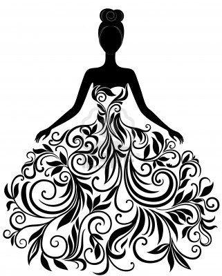 Vector Silhouette der jungen Frau in einem eleganten Brautkleid – Dress
