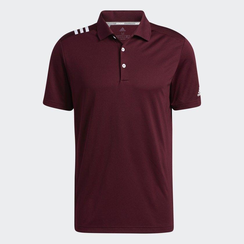 Adidas 3 Stripes Polo Shirt Burgundy Adidas Us In 2021 Striped Polo Shirt Polo Shirt Polo