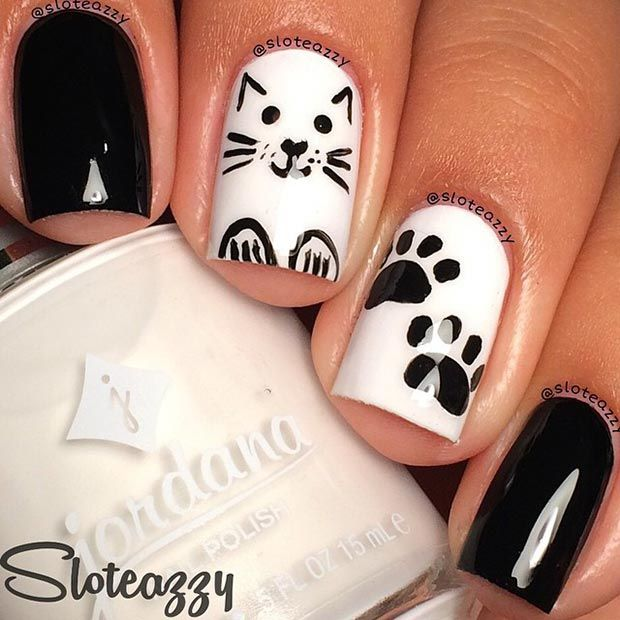50 Best Black And White Nail Designs Cat Nail Designs Cat Nails