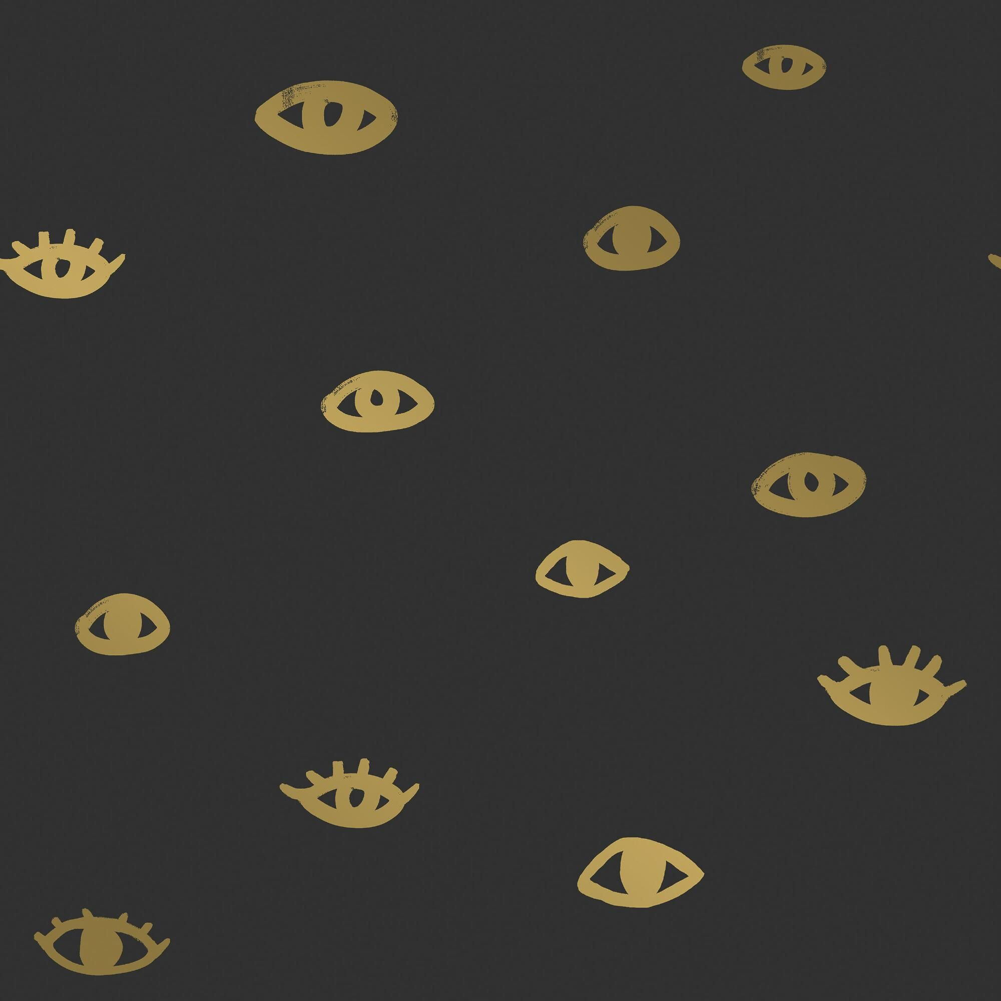 Black And Gold Eyes On You Peel And Stick Wallpaper Wallpaper Roll Removable Wallpaper Modern Wallpaper