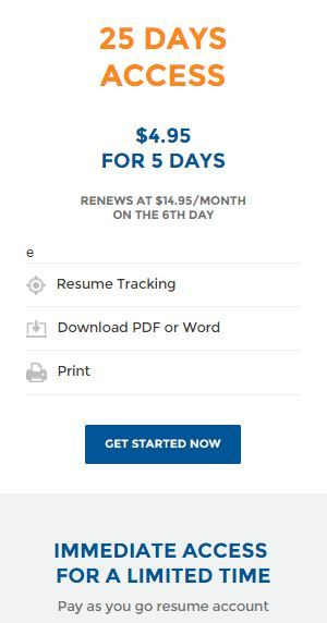 25 Days access-The Resume Builder -Download as PDF -Access our - go resume