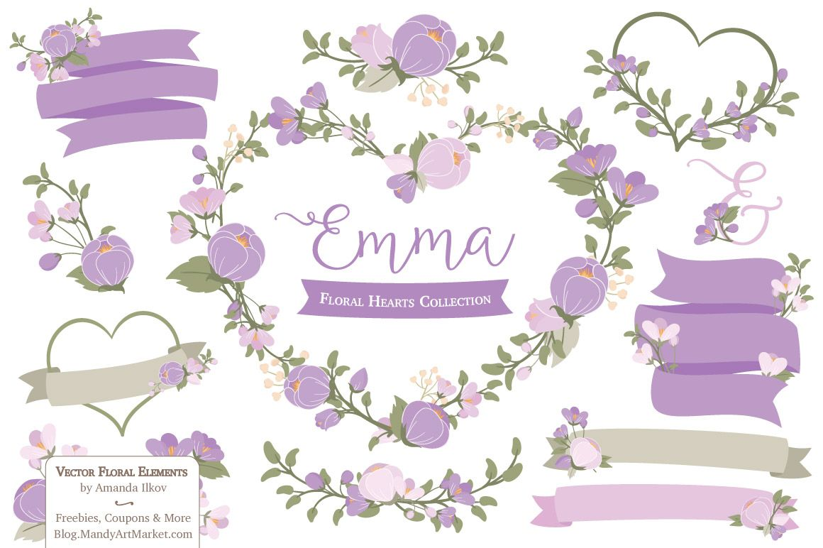 lavender flower heart clipart by amanda ilkov on creative market [ 1160 x 772 Pixel ]