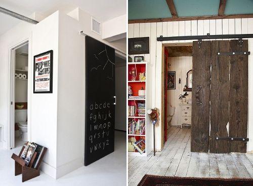 Puerta pizarra corredera y puerta de tablones de madera - Puertas corredizas de madera ...