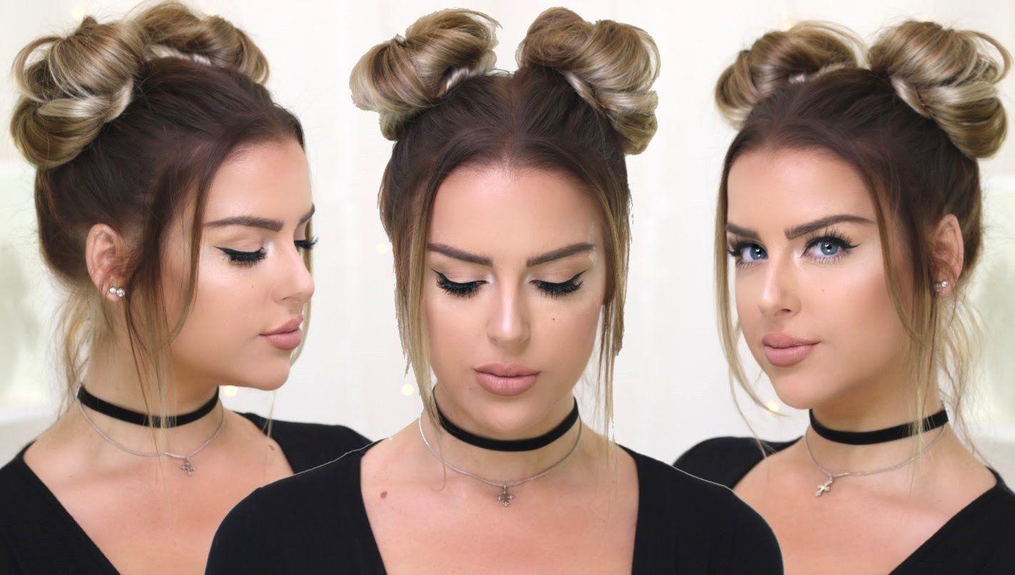 90 S Inspired Double Buns Khloe Kardashian Hailey Baldwin Style Easy Bun Hairstyles Hair Bun Tutorial Easy Hairstyles For Long Hair