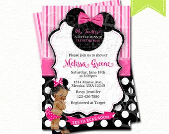 Minnie Mouse Baby Shower Invitation Baby Girl By Lovebuggydesigns