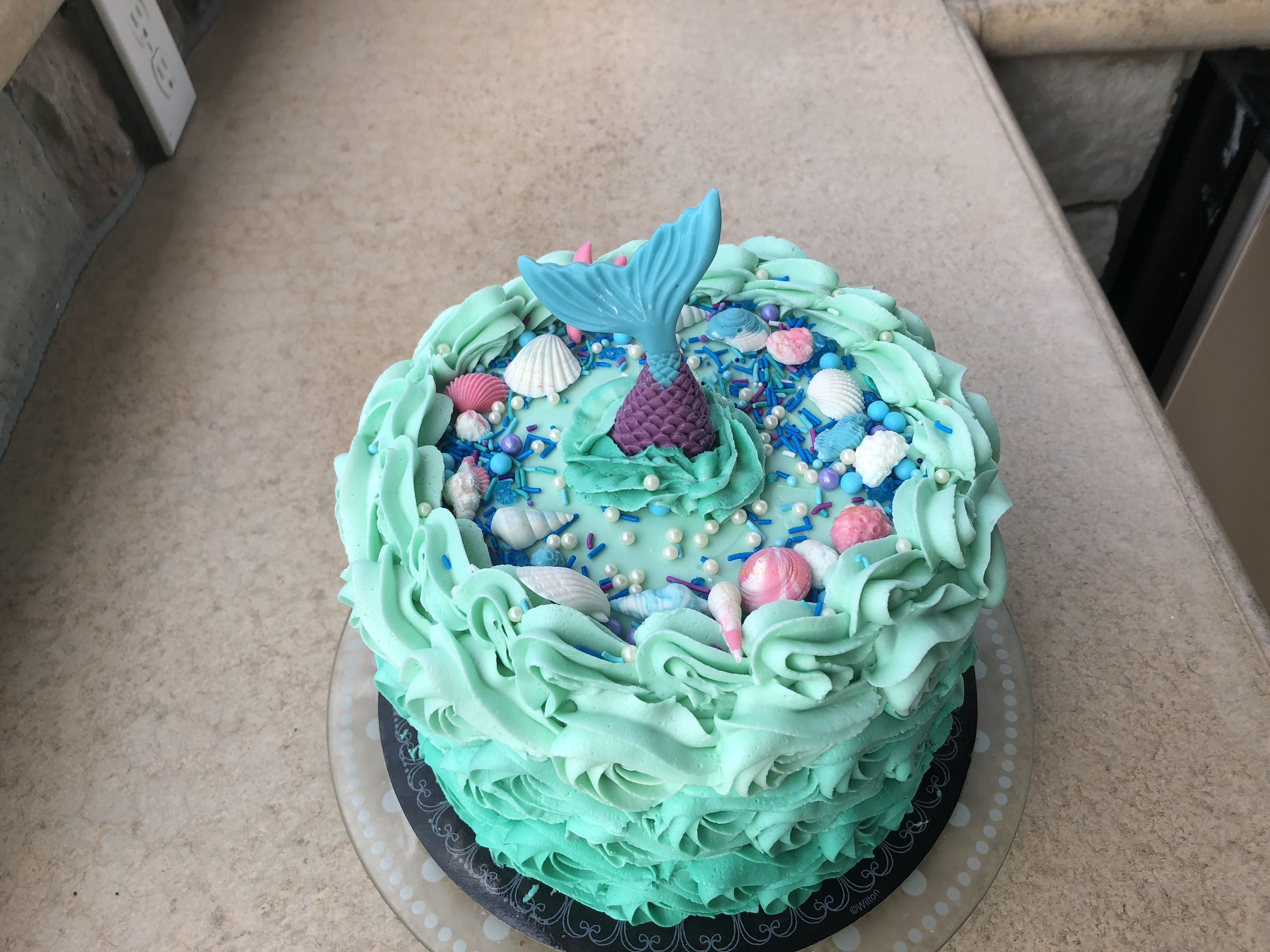 2018 10 This Is A 6 Layer 8 Inch Round Mermaid Cake With Purple