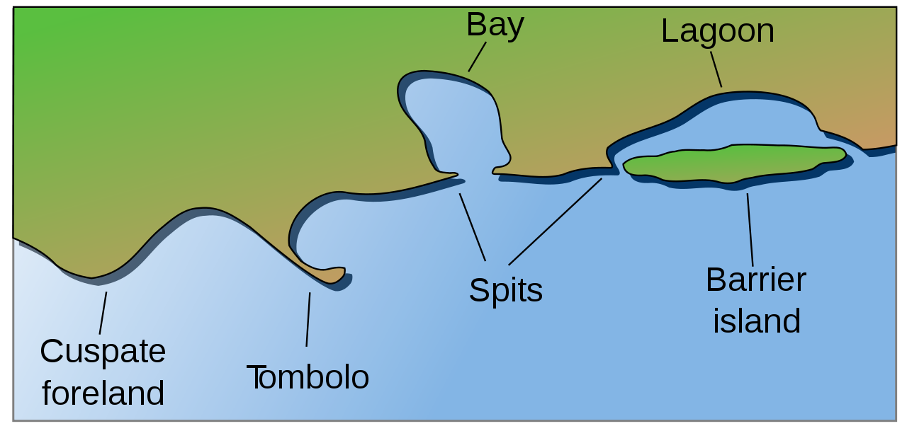 Coral Reef Coastal And Oceanic Landforms Cuspate Foreland Tombolo Spit Bay Lagoon Barrier Island Landforms Barrier Island Earth Science
