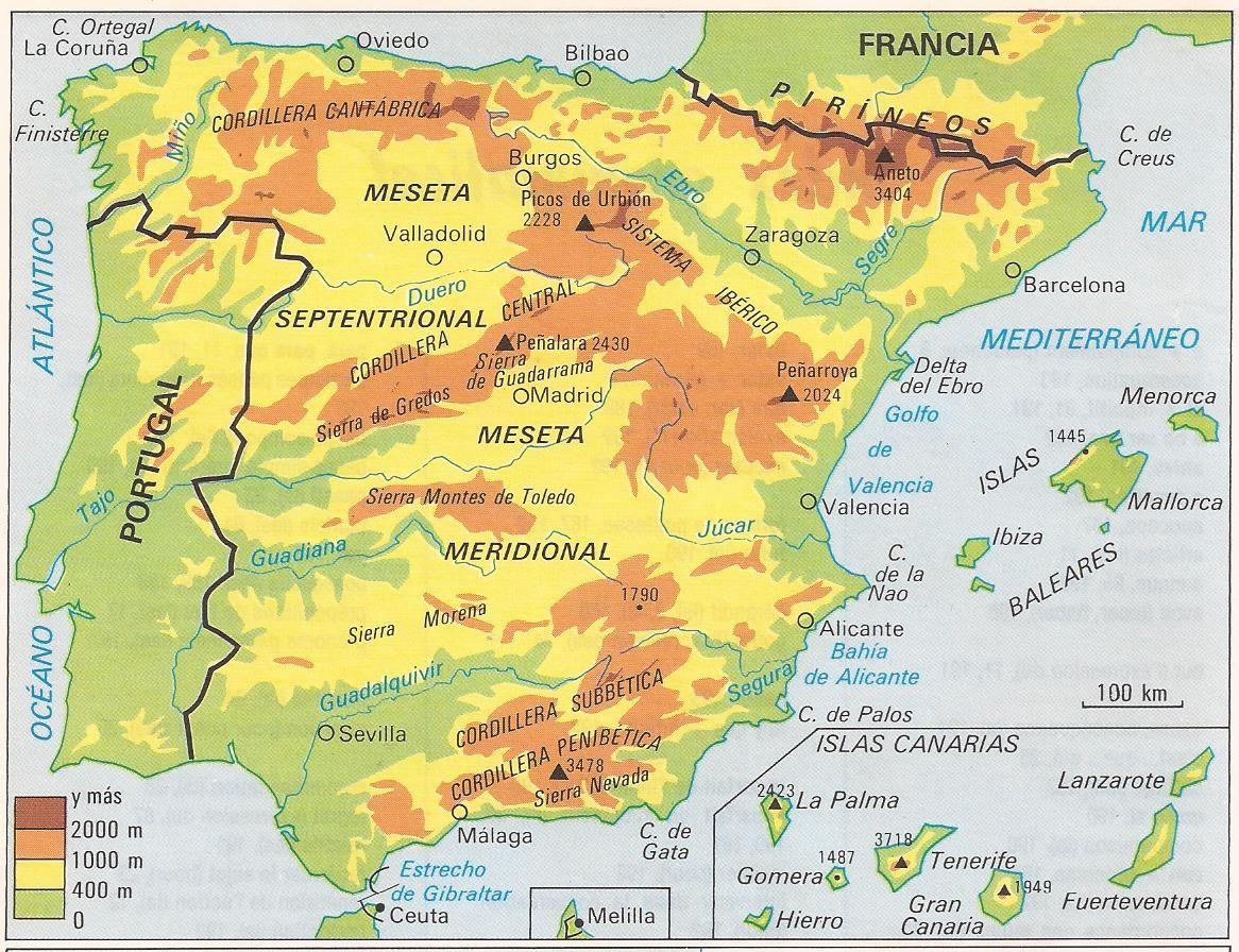 Mapa De España Físico.Mapa Fisico De Espana Mapa De Espana Mapa Fisico De
