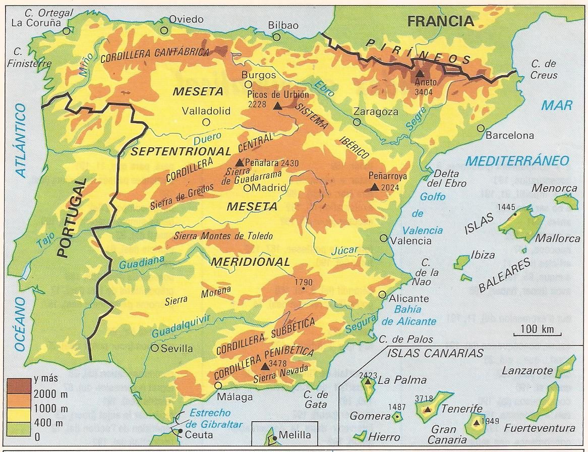 Mapa Fisico De Espana Mapa Fisico De Espana Espana