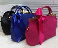 Free Shipping Bolsa Feminina 2015 High Quality Vintage Casual Bucket Suede Bags Shoulder Bag Female Handbags Blue Black