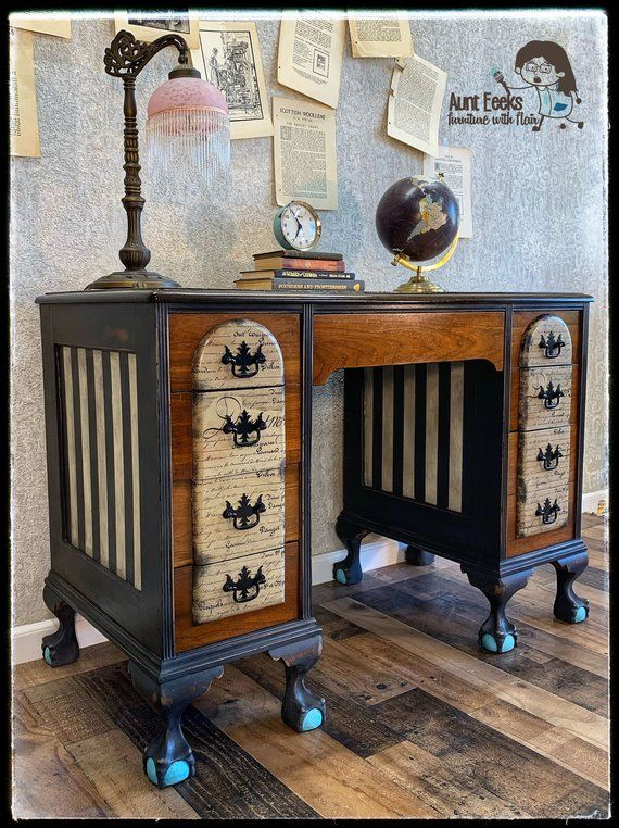 Sold Antique Ball And Claw Foot Desk Painted Furniture Painting Wooden Furniture Selling Antiques