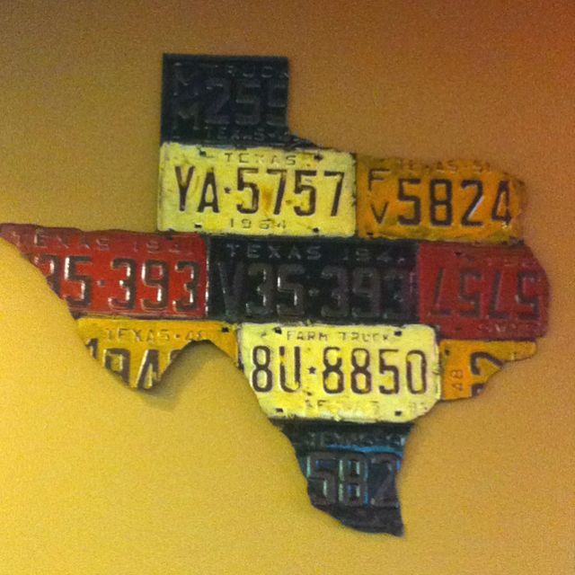Texas made out of old license plates...very cool | License ... on map wall decor metal art, map made of books, map white on white art, map made of tools, map of united states license, map made of paper, map made of flowers, map made of buttons,