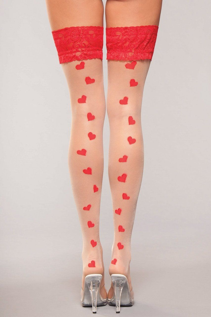 e7bb1f7f45e Sexy Be Wicked Nude Red Thigh Red Lace Tops Stay Up Nude Thigh Highs  Stockings with Hearts Valentine s Day Hosiery Pantyhose