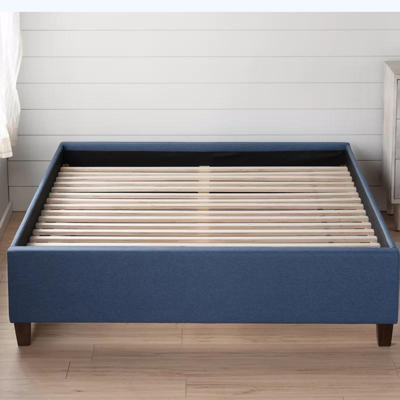 Hateya Upholstered Low Profile Platform Bed Base In 2020 Platform Bed Base Upholstered Platform Bed Platform Bed