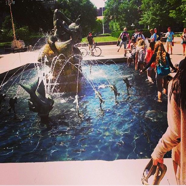 As Part Of The Michigan Tradition Students Walk Through This Fountain At Their Orientation Goblue University Of Michigan Michigan Go Blue
