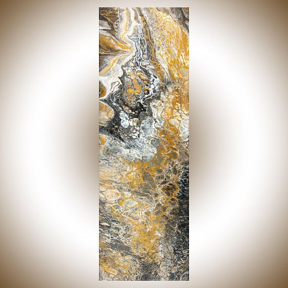 Black white gold acrylic pour fluid art fluid painting original artwork narrow art gift for man