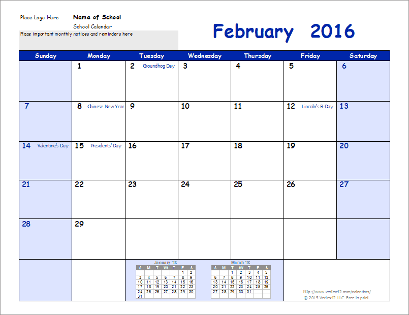 School Calendar  Bouquet    School Calendar Monthly