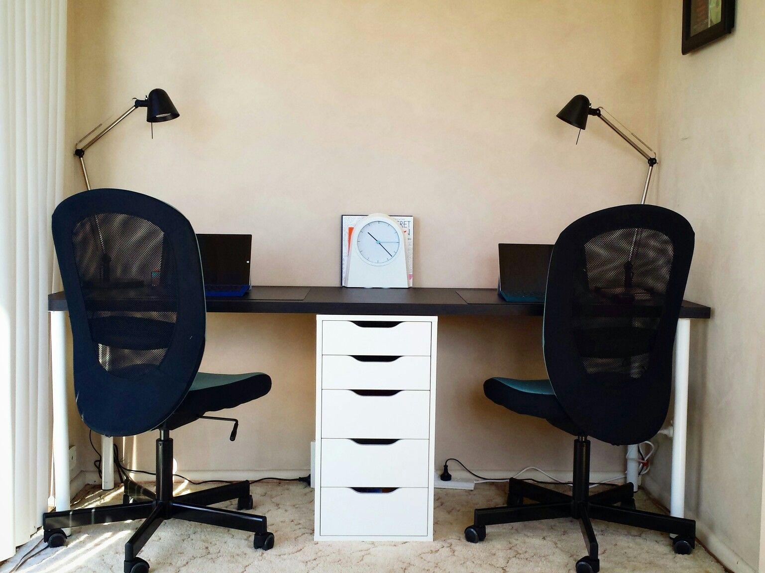 Desk For Two Using Ikea Furniture Linnmon Table Top Black Brown 200cm X 60cm 75 Aus Dollars Alex Drawer U Ikea White Desk Ikea Home Office Ikea Alex Desk