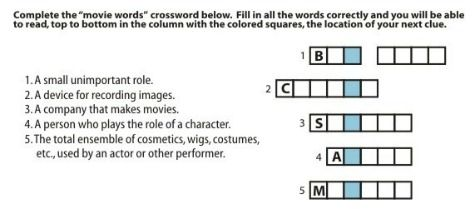 crossword puzzle scavenger hunt clue | Scavenger Hunt | Scavenger