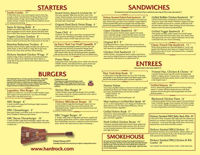 Hard Rock Cafe Toronto Menu And Prices